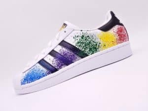 Adidas Superstar Color splash, chaussures customisées par ATPIK Custom sneakers