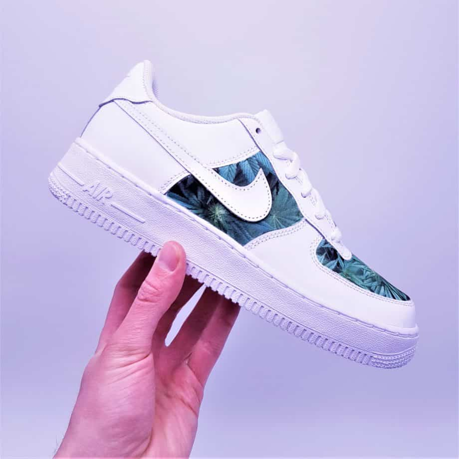 The Nike Air Force 1 Weed, a pair of custom sneakers in the colors of cannabis by ATPIK Custom sneakers